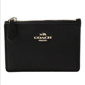 COACH Crossgrain Mini ID Skinny Wallet Light/Black